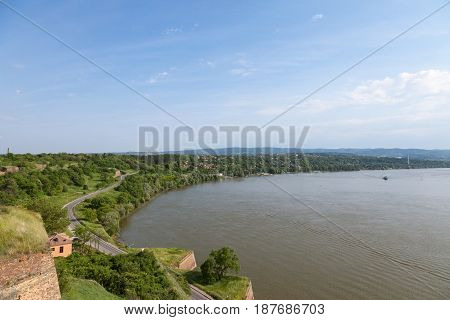 Danube shore from Petrovaradin fortress in Novi Sad Serbia. Danube river is one of the biggest rivers of central and eastern Europe