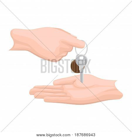 Giving key from hand to hand flat vector isolated on white background. Man hand handing modern doors key with trinket on keyring illustration for real estate, buying new apartment concepts