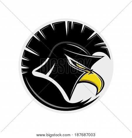 Eagle in a Spartan helmet on a white background.