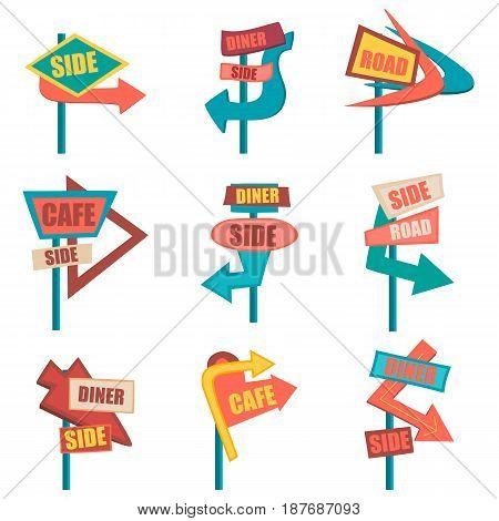 Retro road signs. Vintage billboard set. Graphic illustration