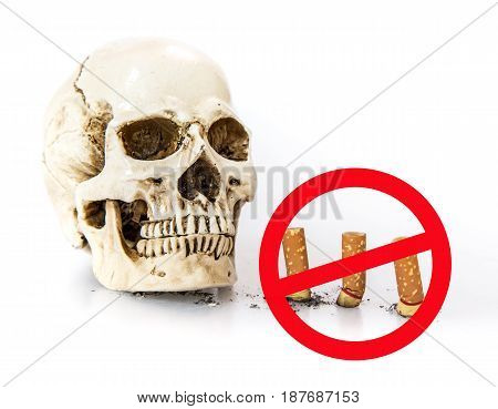 No smoking World No Tobacco Day isolated on white