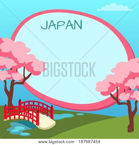 Japan touristic banner with national symbols and copyspace. Arched garden bridge across pond with flowering cherries flat vector illustration. Vacation in exotic country concept for travel company ad
