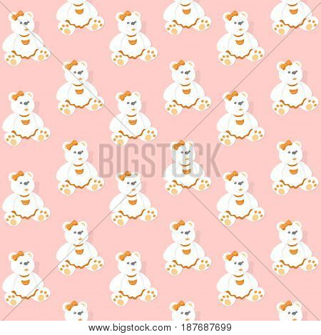 Seamless Pattern with Bears on a Pink Background.