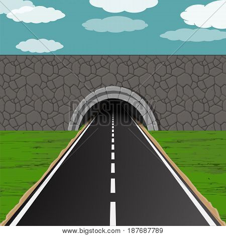dark tunnel with one way road illustration