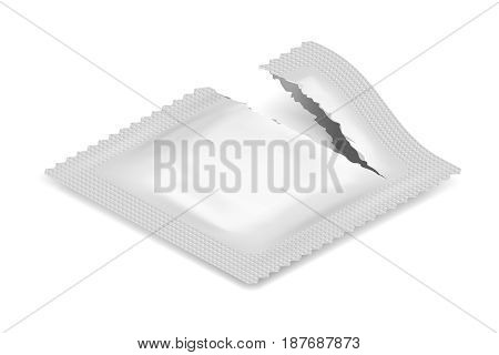 Isometric Torn Realistic Condom Food Medicine Flow Pack Isolated with Shadow Icon Template Design Vector Illustration