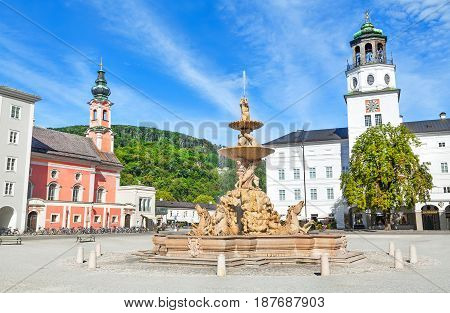 Beautiful View Of Residenzplatz With Famous Residenzbrunnen In Salzburg, Salzburger Land, Austria