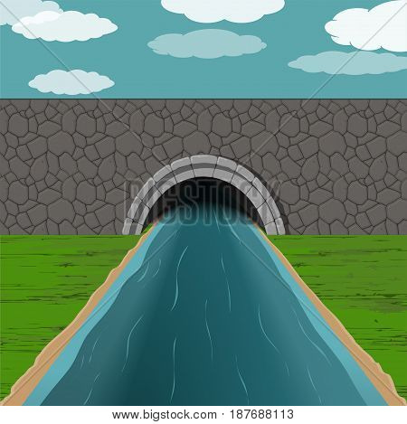 dark tunnel with blue fast river illustration