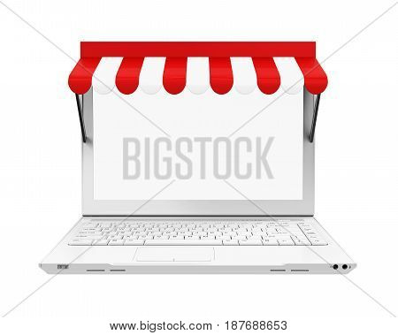 Online Store Concept isolated on white background. 3D render