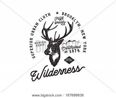 Hand drawn vintage camping badge and hiking label with hiking design elements and typography. Included deer head, mountains and quote text- wilderness . Old style patch. Rustic patch. Stock vector.