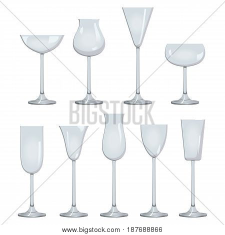 Glasses set for wine. White sparkling and dessert wine collections. Graphic illustration