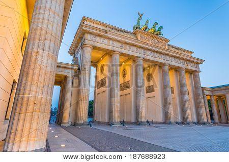 Berlin Brandenburg Gate In Twilight, Germany