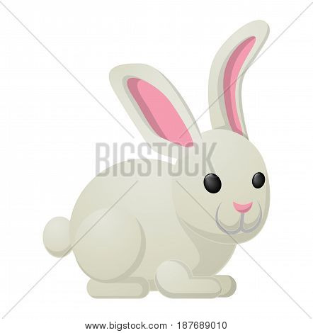 White bunny with pink ears isolated on background. Vector illustration of sweet gifts on easter. Nice sweetness in form of holiday mascot. Festive emblem of hare animal in cartoon style, fluffy rabbit