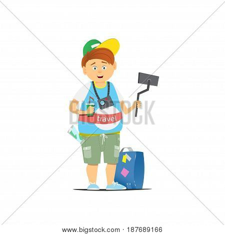The traveler with a selfie stick and a camera. Suitcase. Tourist taking a selfie