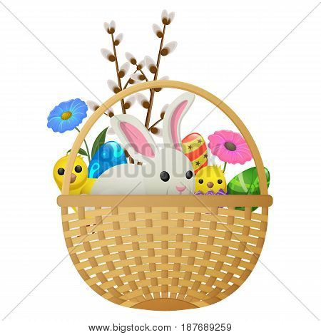 Wicker basket with Easter bunny, spring chickens, colorful flowers, painted eggs and willow twigs isolated on white background. Easter symbols vector illustration. Funny animals and eggs with pattern