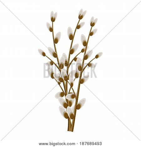 Bunch of willow twigs isolated on white background. Symbolic tree branches vector illustration. Easter celebration natural attribute. Plant that used in religious ceremonies of Christianity.