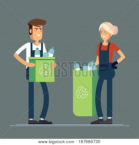 Couple of people gathering garbage and plastic waste for recycling. Service recycling poster