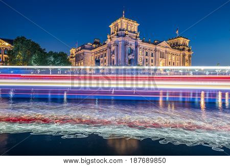 Berlin Government District With Reichstag And Spree River In Twilight, Berlin Mitte, Germany