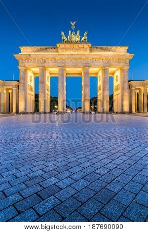Brandenburger Tor (brandenburg Gate) In Twilight During Blue Hour At Dawn, Berlin, Germany