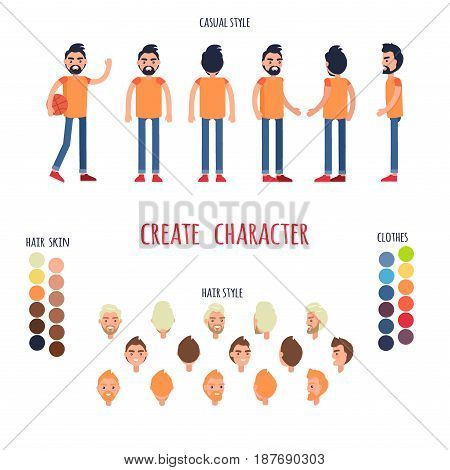 Animated character man full length in jeans and t-shirt. Vector poster of moving boy, colored hairstyles, , emotions on faces, choose your skin color and cloth and type of hairstyle in cartoon design