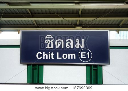 Bts Sign At Chit Lom Bts Station