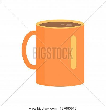Long orange cup in round shape with brown drink inside isolated on white. Vector illustration of special colorful bowl for drinking hot tea or coffee. Warm concept with high teacup with handle