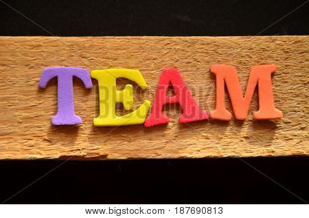 word team on a abstract colorful background