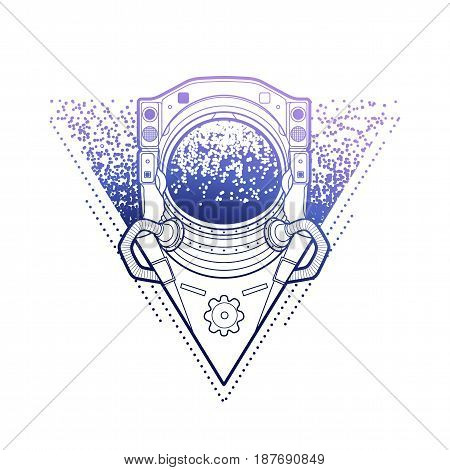 Graphic astronaut in the shape of triangle surrounded by starry dots. Vector art in blue colors isolated on white background