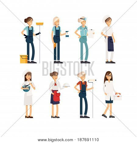 Flat illustration femalr group of people of different professions on a white background. Vector illustration in a flat style. Women of different professions