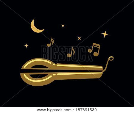 Jews-harp music under the Moon, vector illustration for your design