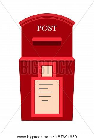 Traditional wall mounted metal mailbox with address plate flat vector illustration. Vintage red mail house for letters icon isolated on white background. Classic postal box for correspondence