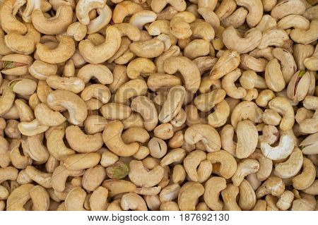 Cashews rich in heart friendly fatty acids. Healthy food. Cashew nuts as food background. Top view
