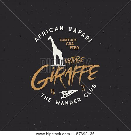 Giraffe badge. Typography design. Stock Vector isolated on black background. retro insignia. Rustic design.