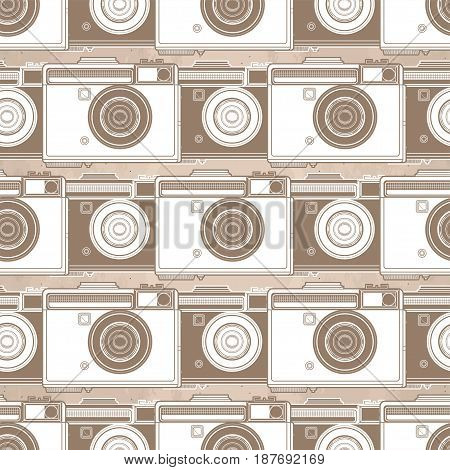 Graphic seamless pattern with vintage slr camera
