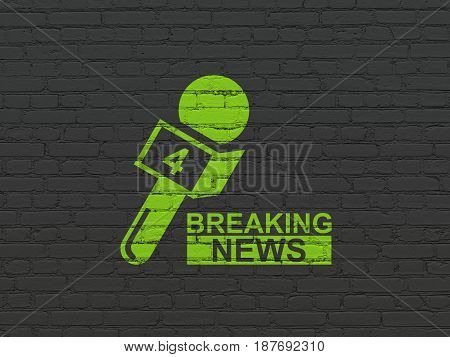 News concept: Painted green Breaking News And Microphone icon on Black Brick wall background