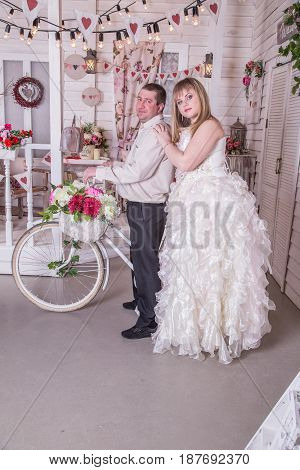 Young married couple posing for the camera