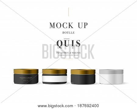 Set of realistic black cosmetic cream container for cream lotion. Mock up bottle. Gel, powder, balsam, with golden design label. Containers for bulk mixtures.
