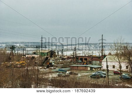 View of the work site near the coal mine in the Urals in Russia.