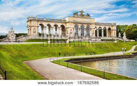 Beautiful View Of Famous Gloriette At Schonbrunn Palace And Gardens In Vienna, Austria