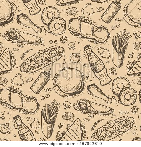 Fast food hand drawn vintage backdrop. Restaurant or cafe menu cover with pizza, french fries, sandwich, hot dog doodles. Food design vector illustration template with snack linear sketches.