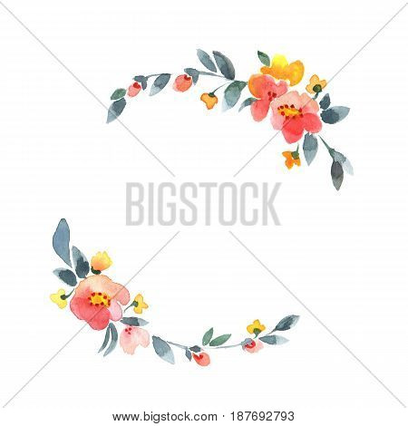 Simple floral wreath. Watercolor flowers. Isolated on white background. Element for design