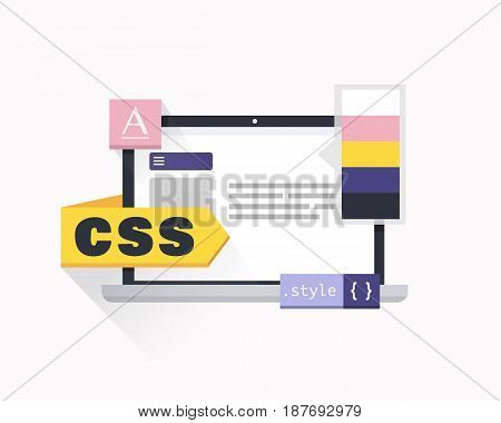 CSS script code, developer web concept.Software coding, programming languages, testing, debugging, website. Vector illustration flat design.
