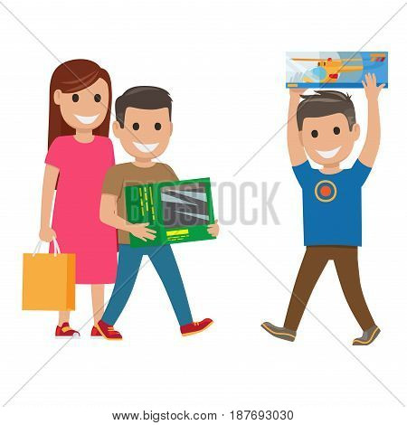 Family out on shopping mother holds bag and toy and two sons with boxes, in one of them toy helicopter, on white background. Cartoon family with toy presents. Shopping collection vector illustration.