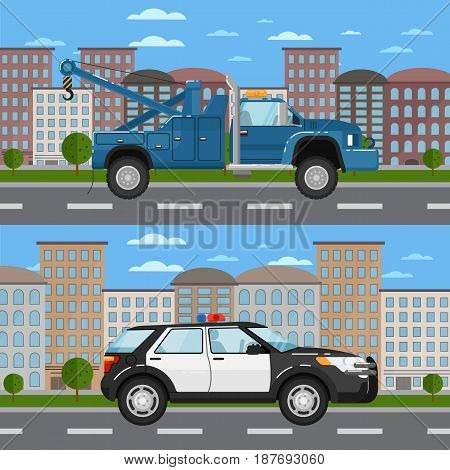 Tow truck and police car in urban landscape. Service auto vehicle, public and emergency transport, urban roadside assistance. City street road traffic vector illustration, cityscape background