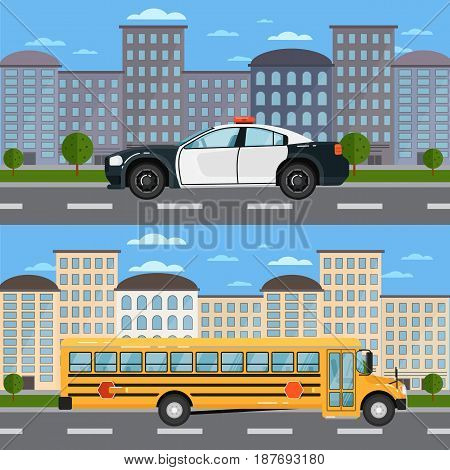 Yellow school bus and police car in urban landscape. Service auto vehicle, public and emergency transport, urban roadside assistance. City street road traffic vector illustration, cityscape background