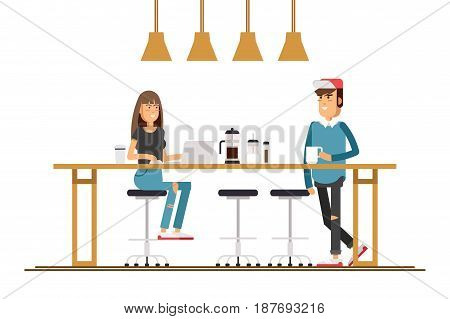 Vector flat illustration of friend sitting at the coffee house. Young male character freelance sitting in a coffee shop and working on laptop.