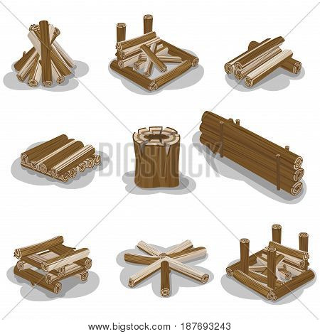 Campfire stump logs collection isolated on white background. Vector poster of wood pieces without fire put in various positions. Touristic burning firewood set in flat design cartoon style