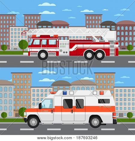 Fire truck and ambulance car in urban landscape. Service auto vehicle, public and emergency transport, urban roadside assistance. City street road traffic vector illustration, cityscape background