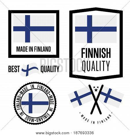 Finland quality isolated label set for goods. Exporting stamp with finnish flag, nation manufacturer certificate element, country product vector emblem. Made in Finland badge collection.