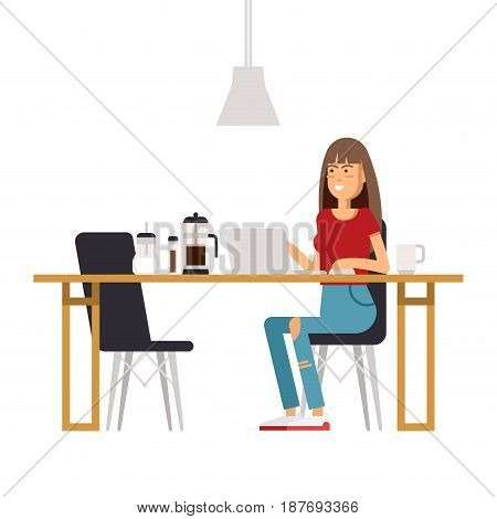 Vector flat illustration of young man sitting at the coffee house with laptop. Young male character freelance sitting in a coffee shop and working on laptop.