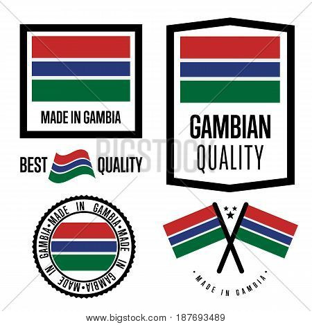 Gambia quality isolated label set for goods. Exporting stamp with gambian flag, nation manufacturer certificate element, country product vector emblem. Made in Gambia badge collection.